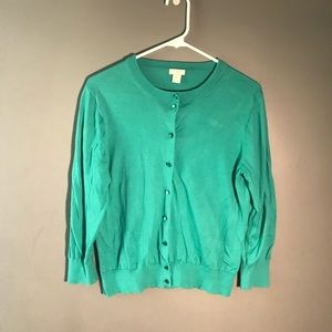 J. Crew Factory The Clare Cardigan Teal Green